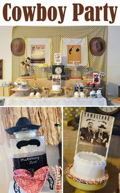 Tombstone movie party cowboys Wyatt earp kurt russell party envy by Charlene #prettymyparty Cowboy First Birthday, Baby Boy 1st Birthday, First Birthday Parties, Birthday Ideas, Cowgirl Party, Cowboy Theme, Pirate Party, Wild West Party, Party Time