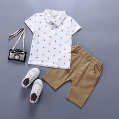 Summer Baby Boys Suit Polo Shirt +Pants - The most beautiful children's fashion products Baby Outfits, Boys Summer Outfits, Summer Boy, Toddler Outfits, Kids Outfits, Stylish Outfits, Stylish Suit, Baby Dresses, Summer Fall