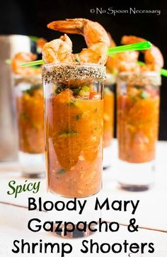 This Spicy Bloody Mary Gazpacho & Shrimp Shooters recipe is featured in the Hangover Cure feed along with many more. Shrimp Appetizers, Appetizer Dips, Appetizer Recipes, Shrimp Dishes, Tapas, Seafood Recipes, Cooking Recipes, Drink Recipes, Salads