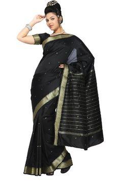 Buy New: $51.49 - Apparel: Black Art #Silk Saree #Sari fabric India Golden Border