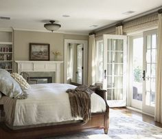 Love French doors in bedrooms that lead to porches.