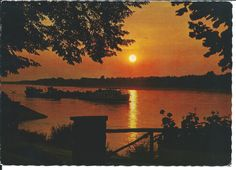 Abendstimmung an der Donau, ca. 1968 Celestial, Sunset, Outdoor, Outdoors, Sunsets, Outdoor Games, The Great Outdoors, The Sunset