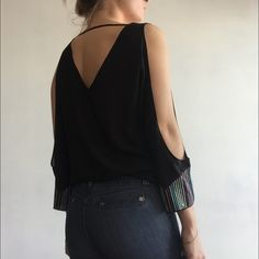 Love Stitch Tops - Black embroidered blouse w/ arm slits & open back