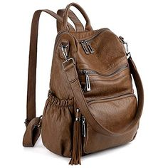 ae1557439116 UTO Women Backpack Purse PU Washed Leather Convertible Ladies Rucksack  Tassel Zipper Pocket Shoulder Bag -