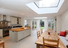 Glass roof in the kitchen