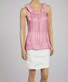 Pink ruffle yoke top