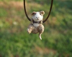 Tiny Guinea Pig Necklace / sculpture - needle felted