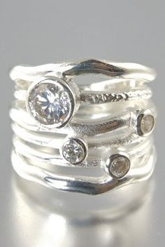 Brilliant Wave Stacked Rings $115.00