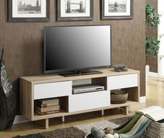 """Convenience Concepts Newport Ventura 60"""""""" TV Stand in Weathered White/ White"""