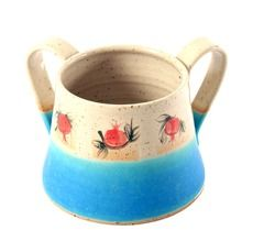Netilat Yadayim Beige and Turquoise Ceramic Washing Cup with Pomegranate Motif
