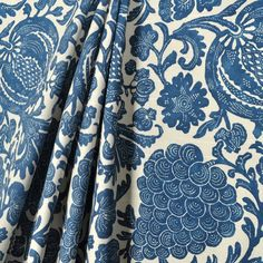Sewing Curtains Indigo blue and off white lined curtains Cobalt blue lined No Sew Curtains, Rod Pocket Curtains, Custom Curtains, Drapery Fabric, Fabric Decor, Panel Curtains, Curtain Panels, White Lined Curtains, Floral Curtains