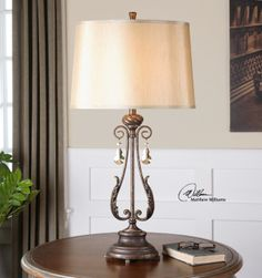 L40154 Bronze Distressed Lamp with crystal accents