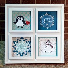 Gift frame, Christmas, snowflakes, penguin, Stampin' Up! see http://heidistampinalong.blogspot.ca/2013/12/framed.html