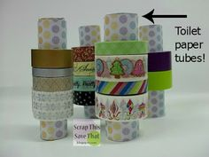 Scrap This, Save That: Washi Tape Storage with toilet paper tubes!