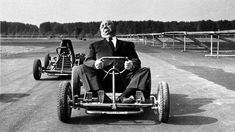 Alfred Hitchcock enjoys a go-kart ride in 1960.
