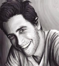 Black and white Jake Gyllenhaal portrait - digital drawing ~ 10 hours