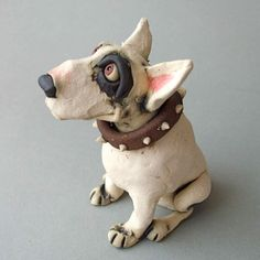 Bull Terrier Dog Ceramic Sculpture