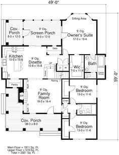 First Floor Plan of Cottage Farmhouse Ranch Traditional House Plan 42504 PERFECT - LOVE IT