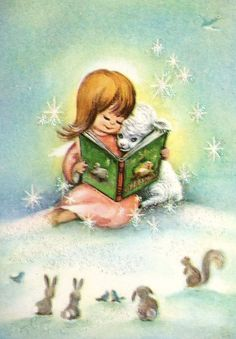 Christmas card. Made from a vintage card. A Story by Starlight...