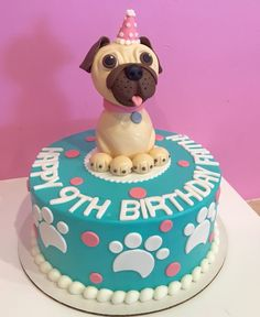 Blue birthday cake with paw prints around it and sculpted pug on top with a pink birthday party hat by 3 Sweet Girls Cakery! Puppy Birthday Cakes, Blue Birthday Cakes, Creative Birthday Cakes, Puppy Birthday Parties, Birthday Treats, 9th Birthday, Pug Cake, Cute Desserts, Fancy Cookies