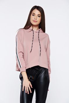 Rosa casual coat with undetachable hood, women hoodie, undetachable hood, long sleeves, slightly elastic fabric, easy cut