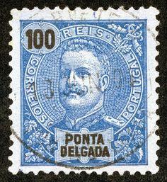Ponta Delgada 1897 Scott 27 100r dark blue/blue