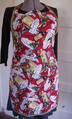 Martini Print Bib Apron for  Men and Women  Red by donnaleeretro