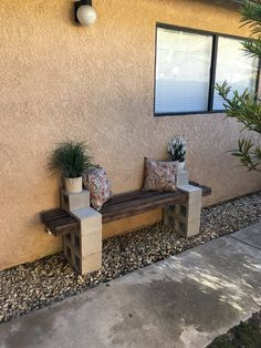 "Longer bench - Materials:  1 - 12' long 4"" x 6"" cut in half (with 3/8"" routed off ends to fit into cinder block) 4 - 8"" x 8"" x 16"" Cinder Blocks 2 - 6"" x 8"" x 16"" Cinder Blocks 2 - 6"" x 8"" x 8"" Cinder Blocks"