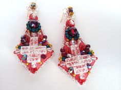 Check out this item in my Etsy shop https://www.etsy.com/listing/112640274/dangle-earrings-textile-jewelry-red