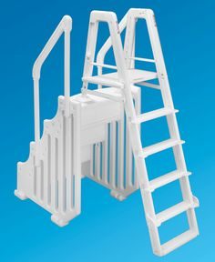 "The Mighty Step and Safety Ladder Set - 30"" Wide Above Ground Ladder - PoolSupplies.com"