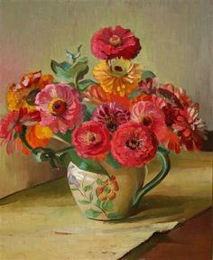 Adelaide Perry 'Zinnias in Patterned Jug' ca.1930's.