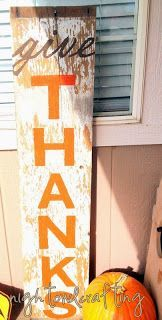 """love this """"give thanks"""" rustic sign for the porch!"""