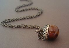 Acorn Necklace Nature Chestunt Brown Brass by RhondasTreasures, $17.00