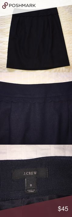 J Crew Wool Mini Skirt -- NAVY Navy mini skirt, hits mid thigh (I'm 5'8). Scalloped detail at waist. Only wore this 4 times--excellent condition! J. Crew Skirts Mini