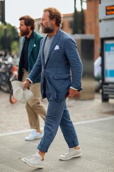 Jorge is wearing Green Cotton Tomi Trousers Cotton/Linen Petrol Herringbone Kennedy Jacket and Navy polo shirt. Carlos Castillo is wearing our Blue Linen Prince of Wales Kennedy suit. Navy Polo Shirt, Polo Shirts, Look Street Style, Sartorialist, Men Looks, Stylish Men, Models, Menswear, Green Cotton