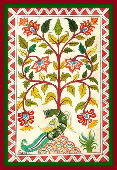 Tree Of Life Art Print featuring the painting The Tree Of Life 1 by Sagar M Mehta Kerala Mural Painting, Indian Art Paintings, Madhubani Painting, Pichwai Paintings, Tree Of Life Painting, Tree Of Life Art, Hindus, Kalamkari Painting, Mandala Art Lesson