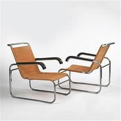 Marcel Breuer lounge chairs model #B35, 1930.