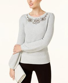INC International Concepts Embellished Sweater, Created for Macy's - INC International Concepts - Women - Macy's