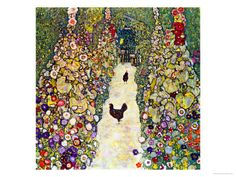 Gustav Klimt Gardenpath with Hens