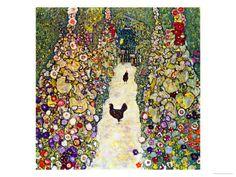 Gustav Klimt Gardenpath with Hens