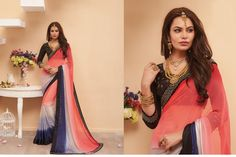 Fashion and pattern would be at the peak of your attractiveness after you dresses this multi colour georgette and satin designer saree. The ethnic patch border work in the attire adds a sign of beauty statement for your look. Comes with matching blouse. (slight variation in color, fabric & work is possible. Model images are only representative.)  http://www.divineboutique.in/home/1042-elegant-esigner-saree-for-festival-7211.html