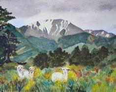 Large original landscape watercolor Colorado by TerriRobertsonArt