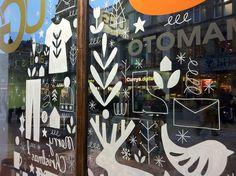 window drawings by Sarah Abbott