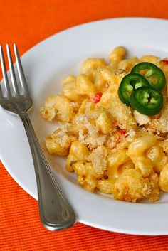 """""""Spicy Mac and Cheese by annieseats"""": Replace noodles with steamed cauliflower, omit breadcrumbs or maybe replace with crumbled bacon, and use arrowroot powder or cornstarch to thicken instead of flour."""