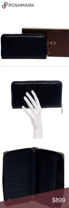 """GUCCI Navy Micro Guccissima Large GG Zippy Wallet. Gucci. This beautiful & stylish clutch/wallet is crafted of Guccissima GG monogram leather & features gold Gucci GG orb zipper pull. Beautiful piece opens on three sides to an accordion style matte leather partitioned interior of card slots, central zipper pocket. Retails for $1225. Measures L 8.25"""", H 4,5"""", W 2"""".  In like new condition. Comes w/original box, tissue paper, care booklet & receipt. This Gucci is chic, classy & a must have for…"""
