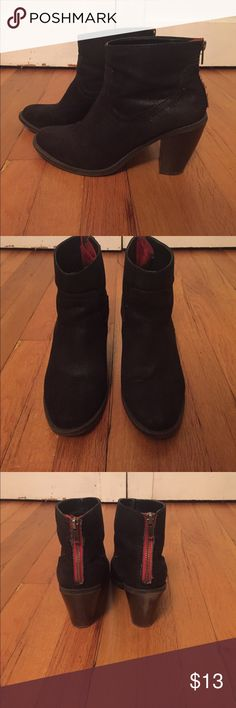 Target black booties Red zipper in back. Great shape. Show some signs of wear but in good condition. Comfortable. Size 8.5 Mossimo Supply Co Shoes Ankle Boots & Booties