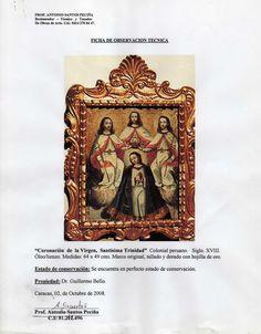 """""""Coronación de la Virgen, Santísima. Trinidad"""" colonial peruano siglo XVIII."""