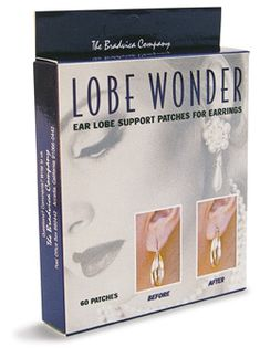 Lobe Wonders.. little stickers you put on the back of your ear lobes before putting on your earrings. Perfect for earrings with any weight to prevent them from dragging you down!