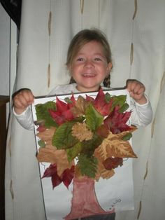Still a kindergarten autumn activity with dead leaves. Easy collage for kindergarten children. Fall Crafts For Toddlers, Toddler Crafts, Diy For Kids, Autumn Activities, Craft Activities For Kids, Preschool Crafts, Autumn Crafts, Nature Crafts, Leaf Projects