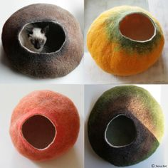 Custom felted Cat Bed / Cave / House / Vessel - Hand Felted Wool - Crisp Contemporary Design. $59,00, via Etsy.